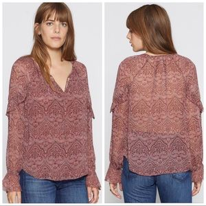 •JOIE•Agneta Silk Peasant Style Long Sleeve Blouse